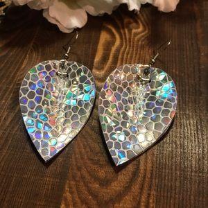 """Faux Leather Earrings 2"""" Leaf Silver Cobblestone"""